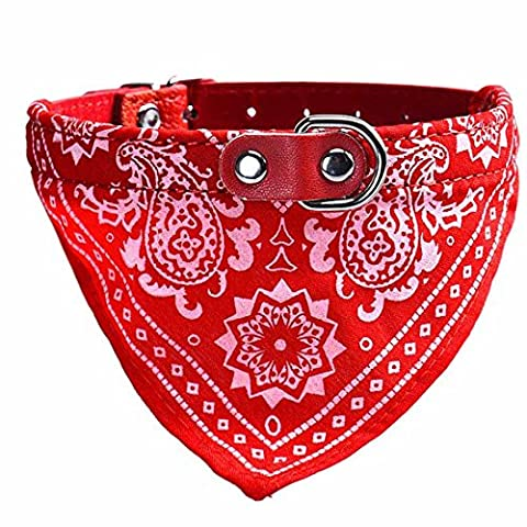 Culater® églable Chien Chiot Chat Foulard Bandana Collar Foulard (rouge)
