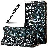 BtDuck Compatible for Samsung Galaxy Note 4 Handyhülle Schwarz Hülle Note 4 Ultra 3D Hülle Leder Flip Case Ledertasche Stand Funktion Schutzhülle Note 4 Handytasche KartenfachSchädel