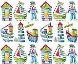 Sala de pegatinas, los niños habitación pegatinas, guardería pegatinas, pegatinas de barco náuticas, marinero tema