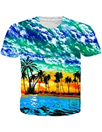 NEWISTAR Unisex 3D Printed Short Sleeve Aloha Hawaiian T-Shirt Tees S-XXL