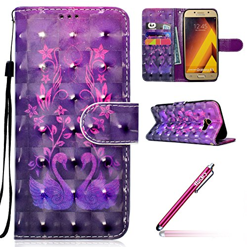 Preisvergleich Produktbild Galaxy Xcover 4 Hülle Silikon,Galaxy Xcover 4 Case Belle,Hpory Fashion Luxus 3D Design Colorful Painted with Lanyard Handyhüllen Leder PU Bookstyle Klapphülle Case With Multi-Kredit Kartenfächer Wallet Flip Cover mit Magnetverschluss und Ständer Cover Case PU Leder Und Silikon Innenschale Anti-Staub Anti-Kratzer und Shockproof Tasche Schutzhülle für Samsung Galaxy Xcover 4 + 1 x Hpory Stylus-(Schwan)