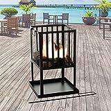 Marko Outdoor Fire Pit Square Black Metal Steel Patio Heater Log Wood Burner Outdoor Basket