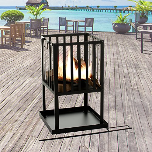Marko Outdoor Fire Pit Square Black Metal Steel Patio Heater Log Wood Burner Outdoor Basket