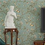 H&M Tapete Vlies Retro Vogel und Blumenmuster Dekoration Schlafzimmer TV Wand Wohnzimmer Tapete -53 cm (W) * 10 m (L) , light blue