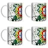 STUFF4 Tee/Kaffee Becher 350ml/4 Pack Portugal/Flagge Splat Land/Weißkeramik/ST10