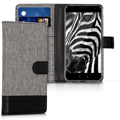 kwmobile Hülle für Ulefone Power 2 - Wallet Case Handy Schutzhülle Kunstleder - Handycover Klapphülle mit Kartenfach und Ständer Grau Schwarz