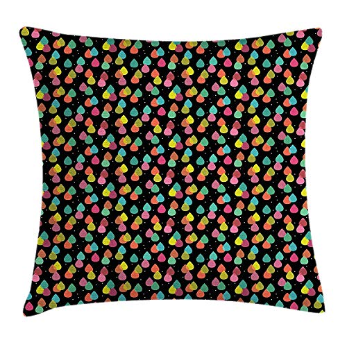 Colorful Throw Pillow Cushion Cover, Abstract Pattern with Raindrops in Lively Colors Contemporary Graphic Art Design, Decorative Square Accent Pillow Case, 18 X 18 inches, Multicolor