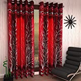 #6: Home Sizzler 2 Piece Eyelet Polyester Door Curtain Set - 7ft