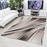 Teppiche modern designer für Wohnzimmer,kurzflor Wellenteppich meliert,mit modernen Farben wie Beige Braun und Cream_9210, Maße:160x230 cm