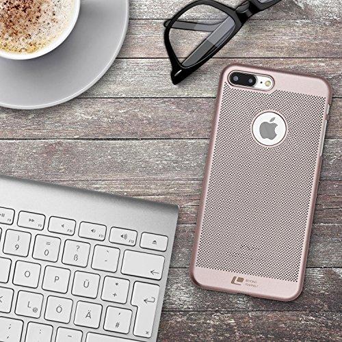 Coque iPhone 7 Plus, Urcover Loopee Case Housse Apple iPhone 7 Plus Étui Rigide et Colorée Téléphone [Plastique Dur] Bleu Foncé Cover Rose Dorée