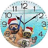 ALLdelete# Wall Clock Perro con Gato Buzo en Rojo Sombrero de Navidad Reloj de Pared Funciona con Pilas Sin tictac Silencioso Cuarzo Analógico Rústico Cortijo Reloj Redondo para el hogar