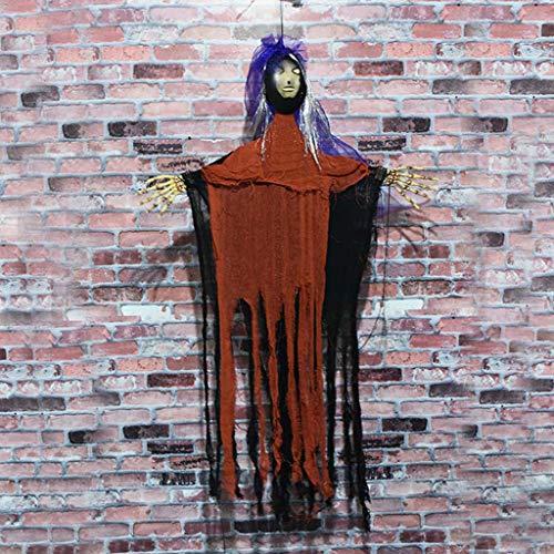 JIBO Resplandor Activado por Voz Fantasma Gritando Halloween Sin Cara Fantasma Novia Colgante Barra Casa Embrujada Decoración Props