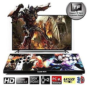 HLLGAME Pandora's Box Home Arcade Game Console, TV-Spielekonsolen 720P Retro-Videospiele Doppelstock Arcade Konsole, 2200 Klassische Spiele in 1 Arcade PC/Laptop/TV/PS, QM04