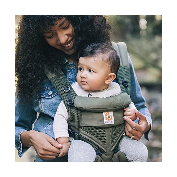 Ergobaby Baby Carrier for Newborn up to 3 Years, 360 Cool Air Khaki Green, 4 Ergonomic Carry Positions Front Back Front Facing, Backpack Carrier Ergobaby Ergonomic baby carrier for the summer, with 4 ergonomic carry positions: front-inward, back, hip, and front-outward. The carrier is suitable for babies and toddlers weighing 3.2 to 20 kg (7-45 lbs), and can be used as a backpack carrier. No infant insert needed NEW - The waistbelt with lumbar support can be worn a little higher or lower to support the lower back and provide optimal comfort, and has adjustable padded shoulder straps. The carrier is suitable for men and women. Maximum baby comfort - Breathable 3D air mesh material provides an optimal temperature for your baby on warm days. The structured bucket seat supports the correct frog-leg position for the baby. The carrier also has a neck support and privacy hood with 50+ UV sun protection. 4