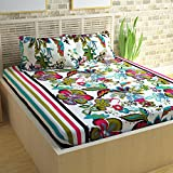 #8: Story@Home Candy 120 TC Cotton Double Bedsheet with 2 Pillow Covers - White