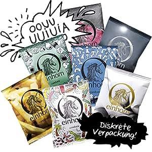 GEHEIM – einhorn Kondom JAHRESVORRAT – NEUTRAL Versand – 7 Packungen Kondome a 7 Stück (49) vegan, design, hormon frei, echte Gefühle, feucht, 100% geprüft