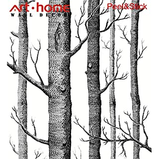 Arthome Wallpaper Prepasted Contact Paper 31.6 Square Feet Wall Covering Distressed Birch Trees White Forest Trunk Self Adhesive Peel and Stick Moistureproof Waterproof Hanging Paper For Wall Décor (0.53*5.65m)