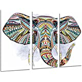 Cuadro Moderno Fotografico Decoracion Mandala Animal Elefante, Fondo Blanco, 97 x 63 cm, ref. 26859