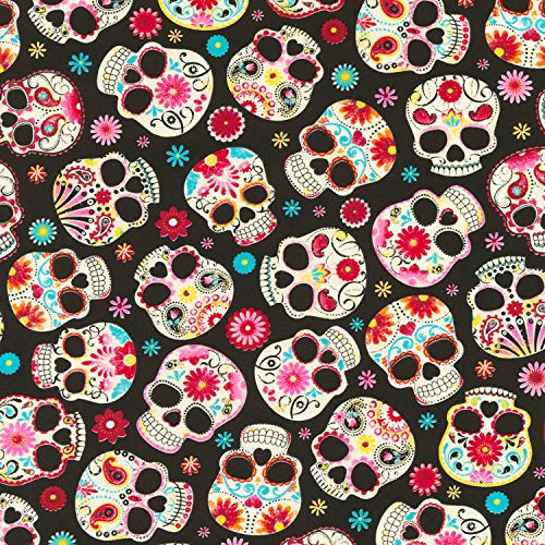 Timeless Treasures Jersey Fabric - Day of The Dead Skulls - TTJ02 - Tissu Jersey - 50 cm x 150 cm - 95% Coton Premium 5% Spandex Stretch Jersey