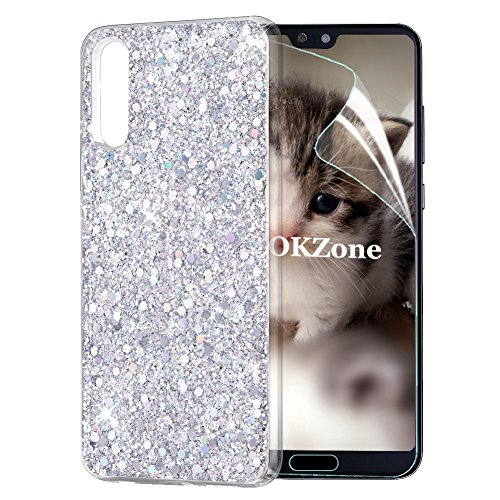 OKZone Huawei P20 Phone Case, Luxury Bling Glitter Sparkle Design Slim Fit Soft Gel TPU Silicone Skin Cover Anti-scratch Protective Shining Fashion Style Case for Huawei P20 (Sliver)