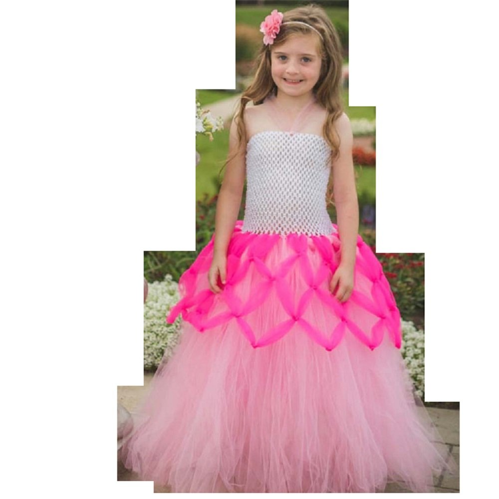 e6dd7b6e4fa Royal Fairy look Flower Girls Dresses Blue   Pink Long Tulle Ball ...