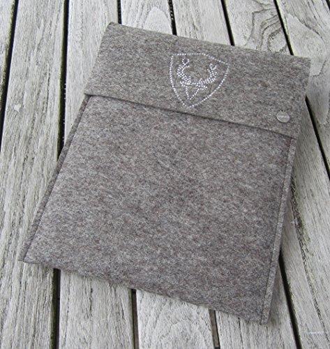 zigbaxx Tablet Hülle PLATZHIRSCH Case Sleeve Filz u.a. für iPad Air Air2, iPad 9.7, iPad Pro 9,7, iPad Pro 10,5 / iPad mini 2/3/4-100% Wollfilz pink schwarz beige grau braun Geschenk Weihnachten -