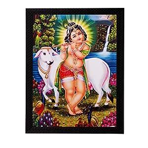 eCraftIndia Ball Krishna Playing Flute Matt Textured Framed UV Art Painting