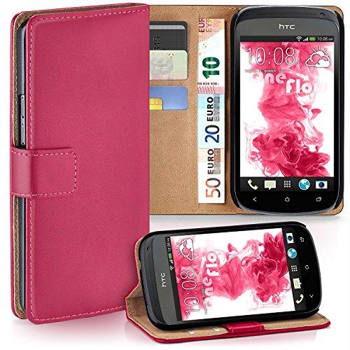 moex HTC One S | Hülle Pink mit Karten-Fach 360° Book Klapp-Hülle Handytasche Kunst-Leder Handyhülle für HTC One S Case Flip Cover Schutzhülle Tasche