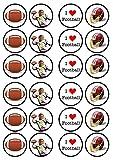 American Football,amerikanische Fußball, Essbare PREMIUM Dicke GEZUCKERTE Vanille, Wafer Reispapier Cupcake Toppers/Dekorationen