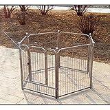 XCLLL Pet Fence Nido Di Animali Domestici Canile Isolation Door Cani Grandi/Medi/Piccoli, Universale Rinforzo Durevole Removibile Argento,M,60*70Sixpieces
