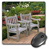 3dRose 8 x 8 x 0.25 Inches Mouse Pad, Empty Wooden Chairs Along A Garden Path Raymond Klass (mp_83512_1)