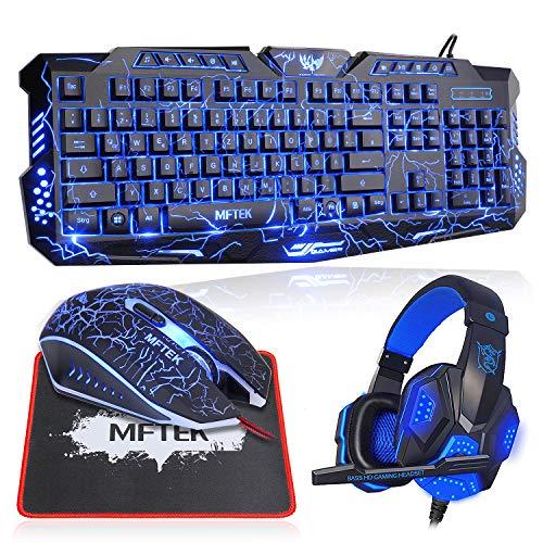 Gaming Tastatur und Maus Set, MFTEK USB Kabel LED 3 Farben (Blau/Rot/Violett) Hintergrundbeleuchtete Tastatur und 7 Tasten Mauskombination mit Kopfhörer