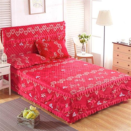 Jupe de lit Couverture de lit Ensembles de lit Couvre-lit Matelassé Simple Épaissir Plus de coton Anti-dérapant-I 180x200cm(71x79inch)Version B