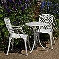 Weißer Ella 60cm Bistrotisch - 1 Weißer Ella Tisch + 2 Weiße ROSE Stühle