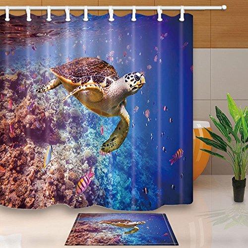 gohebe Nature Ocean Tier Dusche Vorhänge Unterwasser Meer Schwimmende Schildkröte in Coral Reef 180,3x 180,3cm Schimmelresistent Duschvorhang Set mit 39,9x 59,9cm Flanell rutschfeste Boden Fußmatte Bad - Meer Duschvorhang-sets