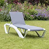 Resol Marina Sun Lounger / Bed - White Frame with Blue Jeans Canvas Material - Pack of 2 Loungers