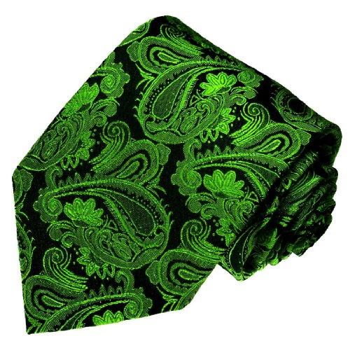 Lorenzo Cana - grün schwarze Paisley Krawatte aus 100% Seide - Marken Seidenkrawatte Schlips Binder - 77145