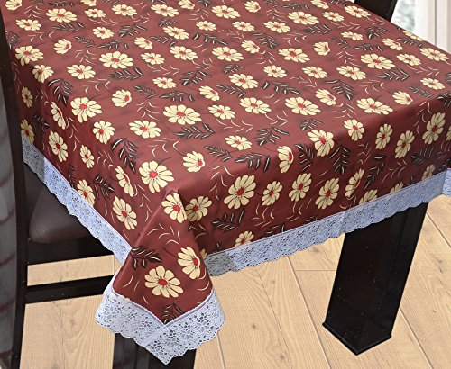 Yellow Weaves™ PVC Dining Table Cover 6 Seater 60*90 Inches - Wine Color(Exclusive Design)