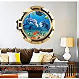3D Unterwasserwelt Kreativ Wandaufkleber Wanddeko Eingang/Wand/Glas-Aufkleber-Tapete-sticker-Abziehbild