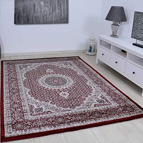 VIMODA Teppich Klassisch Gemustert Kreis, sehr dicht gewebt, Orient Muster in Rot - Top Qualität, Maße:120 x 170 cm