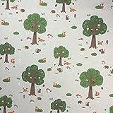 Wald Tiere Baumwolle Rich Leinen Look Stoff für Vorhänge Jalousien Craft Quilting Patchwork und Polstermöbeln ca. 140cm breit, Meterware,