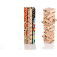 DEEXTEER Wooden Building Blocks Puzzle 54 Pcs Challenging 4pcs Dice Wooden Stacking Game Maths, Tumbling Tower 54 Pcs…