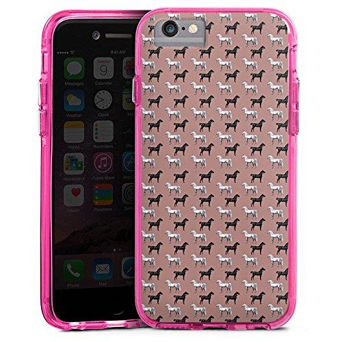 Apple iPhone 7 Bumper Hülle Bumper Case Glitzer Hülle Pferd Horse Vintage Bumper Case transparent pink