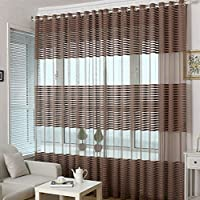 yiyida stanza finestra divisore Voile Sheer Tende con motivo a strisce sciarpa Net pannelli 2pcs 1m x 2m, Dark Coffee, 2m width x 2.7m Drop