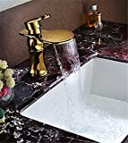LHbox Die Ganze Idee von Kupfer, Vergoldet WC Einzelne Bohrung von Warmen und Kalten Wasser Waschtisch Armatur Waschtisch Armatur Wasserfall Wasserhahn