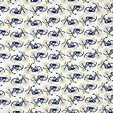 SewCrafte, Tessuto in Policotone per Imbottiture, pachwork, Artigianato - Prezzo al Quarto di Metro (0,25 cm) Flowing Fishes