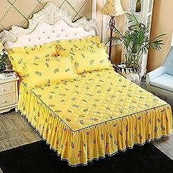 XNSY boutis Couvre lit Coton épaissi Couvre-lit Jupe Pare-poussière draps antidérapants-P_Jupe de lit 180x220cm