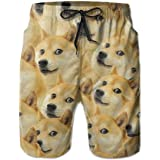 akingstore Funny Doge Pattern Meme Men's Beach Pants Swim Trunks Quick Dry Board Short with Pockets