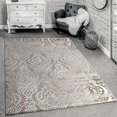 Paco Home Designer Teppich Moderne Orient Muster 3D Wohnzimmerteppich Beige Creme, Grösse:200x290 cm