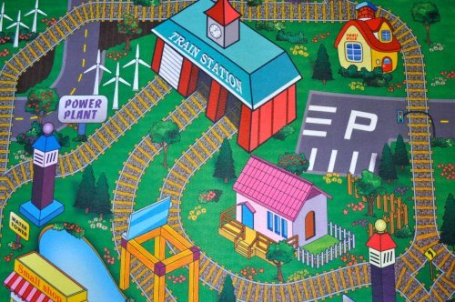 Silli Me Train Station Felt Play Mat with Train Tracks and Road Design